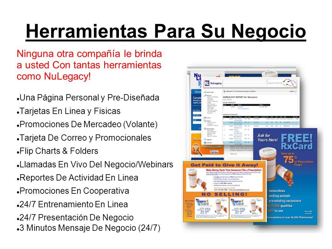 Herramientas Para Su Negocio Ninguna otra compañía le brinda a usted Con tantas herramientas como NuLegacy! Una Página Personal y Pre-Diseñada Tarjeta