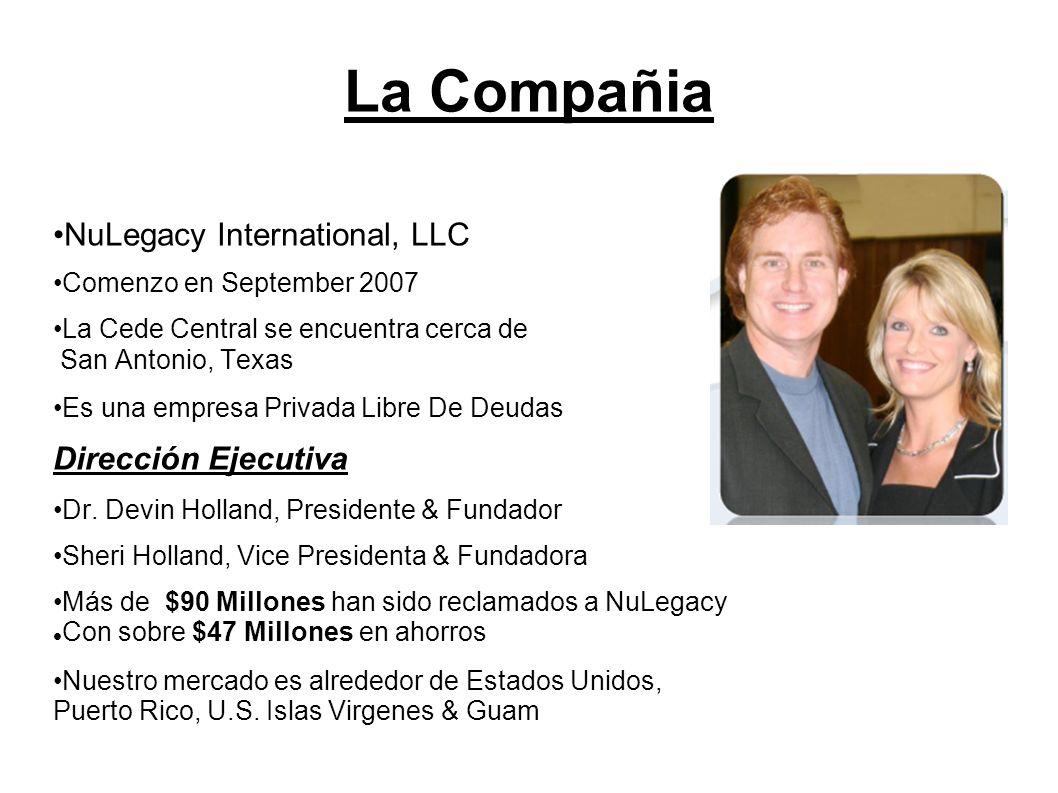 La Compañia NuLegacy International, LLC Comenzo en September 2007 La Cede Central se encuentra cerca de San Antonio, Texas Es una empresa Privada Libr