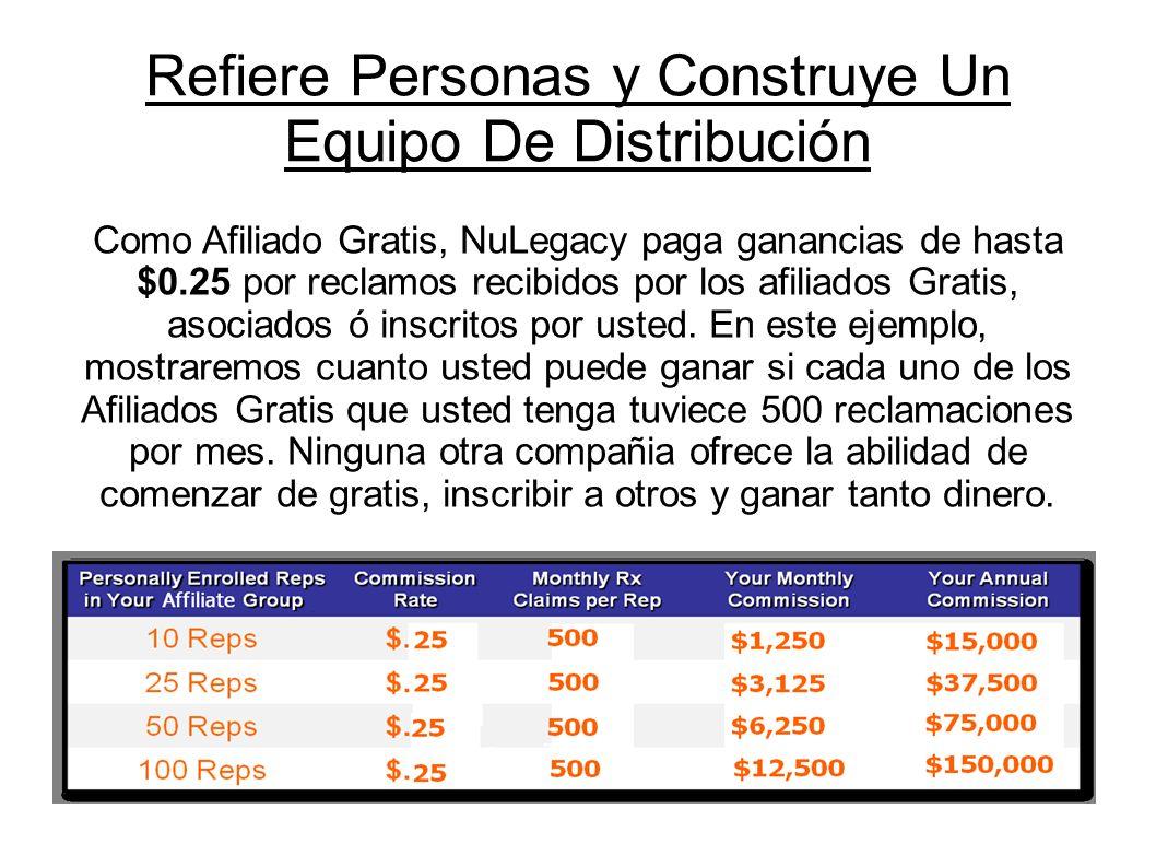Como Afiliado Gratis, NuLegacy paga ganancias de hasta $0.25 por reclamos recibidos por los afiliados Gratis, asociados ó inscritos por usted. En este