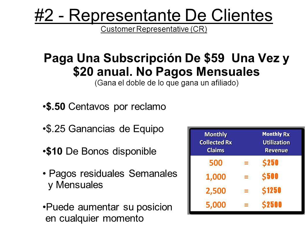 #3 - Representante Independiente Independent Managing Representative (IMR) Paga Una Subscripción de $39 Mes a Mes Le Incluye un Paquete de Negocio Familiar (BIZ Pak Benefits) Gana hasta $0.80 por reclamo Ganancias de Equipo hasta $.35 por reclamo de medicamentos Gana hasta $30 bono semanal Hasta 5 Pagos por mes Bonos Codificados Puede subir a Lider (Pacesetter) en cualquier momento