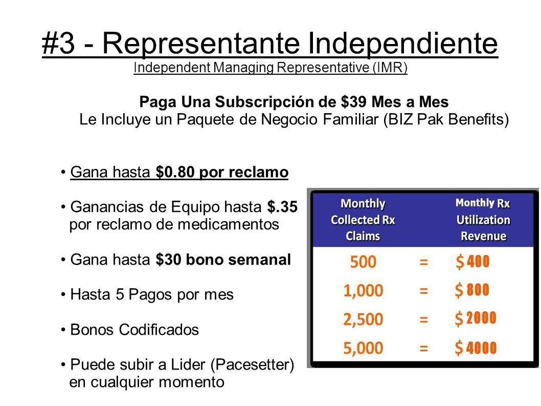 #4 - Lider (Pacesetter) Ingreso Ejecutivo Subscripción de $269 Una Vez y $39 Mes a Mes Incluye: 5000 Tarjetas De Medicamentos Recibe beneficios del Paquete De Negocio (BIZ PAK) Gana hasta $1 por reclamación Gana hasta $0.40 del equipo Gana hasta $200 de Nuevos Lideres Gana $100 de Overrides Gana $100 de bono codificado Pago Infinito Hasta 5 pagos al mes