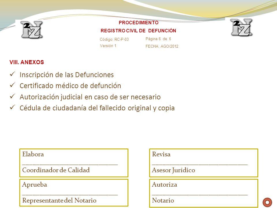 Inscripción de las Defunciones Certificado médico de defunción Autorización judicial en caso de ser necesario Cédula de ciudadanía del fallecido origi