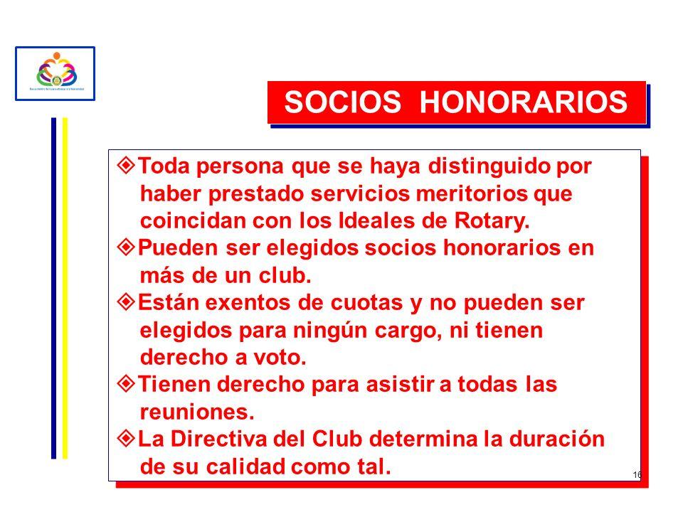 SOCIOS HONORARIOS Toda persona que se haya distinguido por haber prestado servicios meritorios que coincidan con los Ideales de Rotary. Pueden ser ele