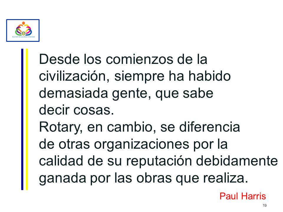 Desde los comienzos de la civilización, siempre ha habido demasiada gente, que sabe decir cosas. Rotary, en cambio, se diferencia de otras organizacio