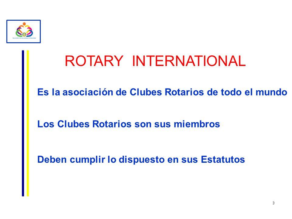 ROTARY INTERNATIONAL Es la asociación de Clubes Rotarios de todo el mundo Los Clubes Rotarios son sus miembros Deben cumplir lo dispuesto en sus Estat