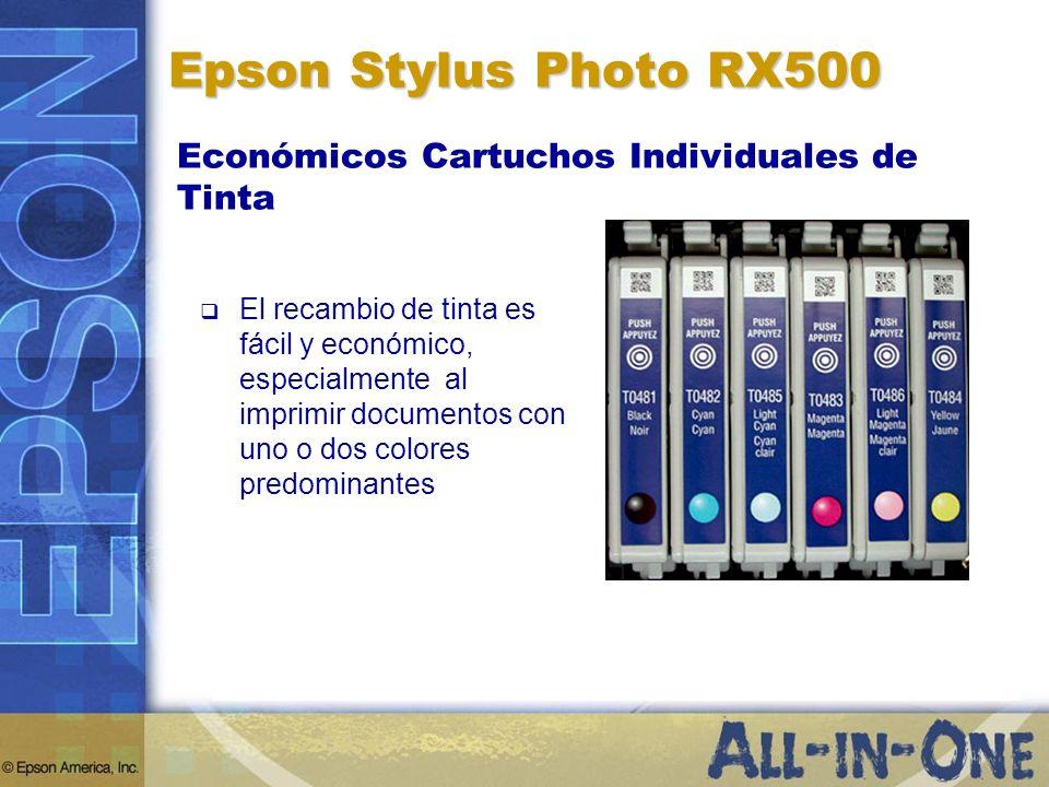 El recambio de tinta es fácil y económico, especialmente al imprimir documentos con uno o dos colores predominantes Epson Stylus Photo RX500 Económico
