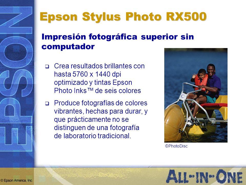 Epson Stylus Photo RX500 Impresión fotográfica superior sin computador Crea resultados brillantes con hasta 5760 x 1440 dpi optimizado y tintas Epson