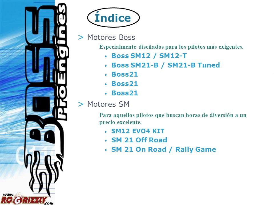 2 Índice > Motores Boss Especialmente diseñados para los pilotos más exigentes. Boss SM12 / SM12-T Boss SM21-B / SM21-B Tuned Boss21 > Motores SM Para