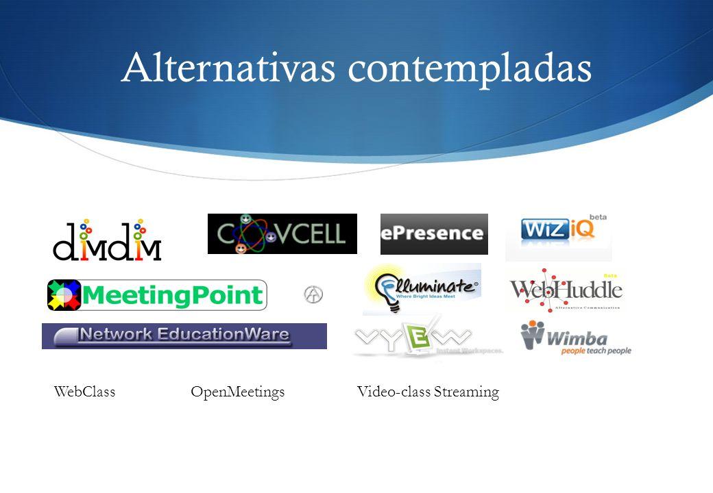 Alternativas contempladas OpenMeetingsVideo-class StreamingWebClass