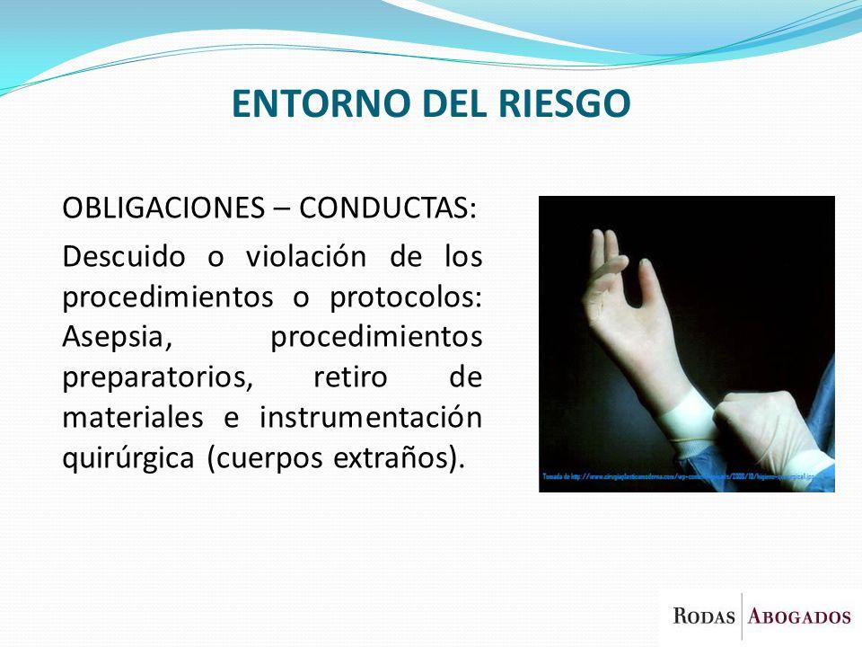 ENTORNO DEL RIESGO OBLIGACIONES – CONDUCTAS: Descuido o violación de los procedimientos o protocolos: Asepsia, procedimientos preparatorios, retiro de