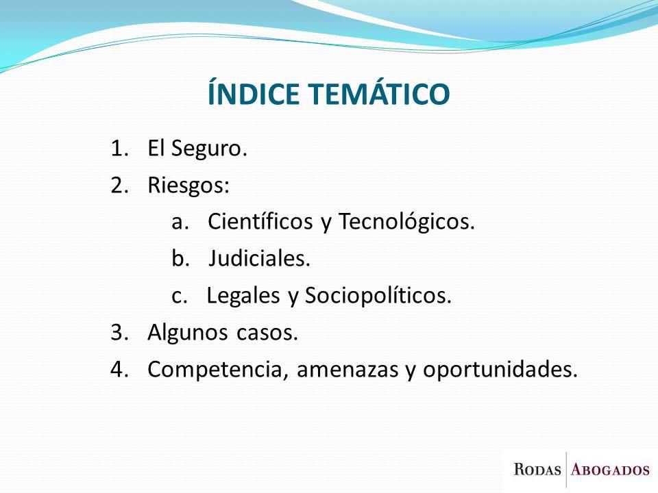 ÍNDICE TEMÁTICO 1. El Seguro. 2. Riesgos: a. Científicos y Tecnológicos. b. Judiciales. c. Legales y Sociopolíticos. 3. Algunos casos. 4. Competencia,