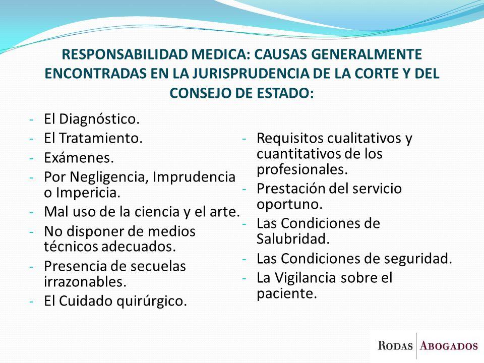 RESPONSABILIDAD MEDICA: CAUSAS GENERALMENTE ENCONTRADAS EN LA JURISPRUDENCIA DE LA CORTE Y DEL CONSEJO DE ESTADO: - El Diagnóstico. - El Tratamiento.