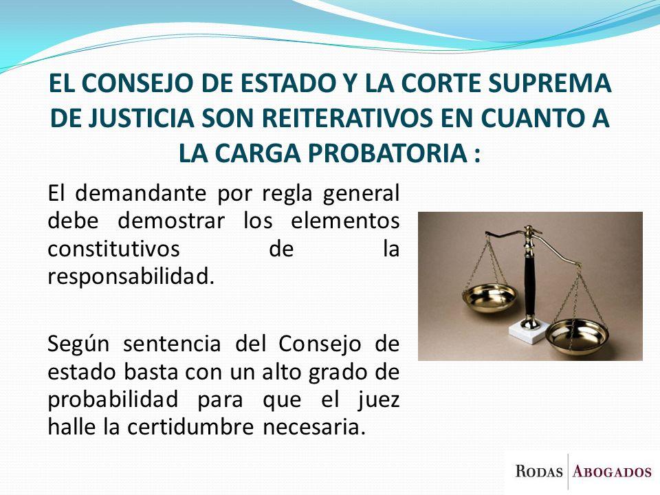 EL CONSEJO DE ESTADO Y LA CORTE SUPREMA DE JUSTICIA SON REITERATIVOS EN CUANTO A LA CARGA PROBATORIA : El demandante por regla general debe demostrar