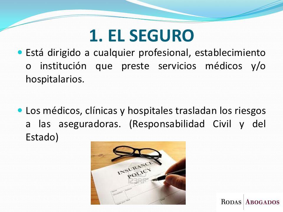 1. EL SEGURO Está dirigido a cualquier profesional, establecimiento o institución que preste servicios médicos y/o hospitalarios. Los médicos, clínica