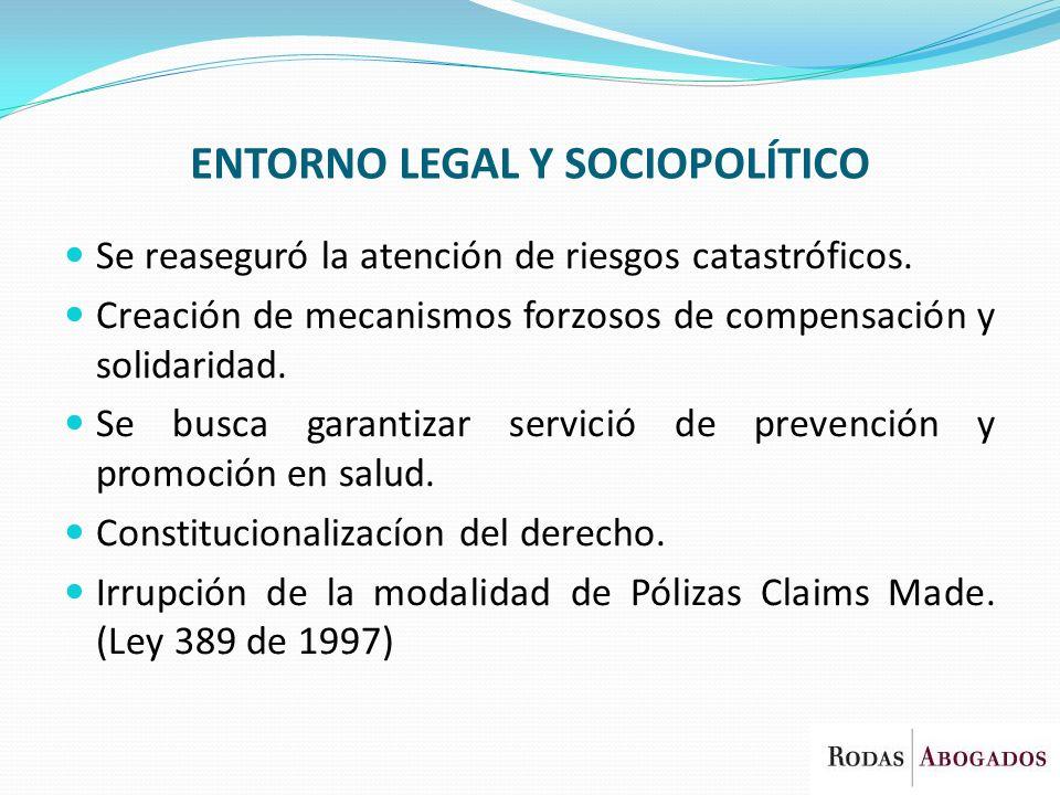 ENTORNO LEGAL Y SOCIOPOLÍTICO Se reaseguró la atención de riesgos catastróficos. Creación de mecanismos forzosos de compensación y solidaridad. Se bus