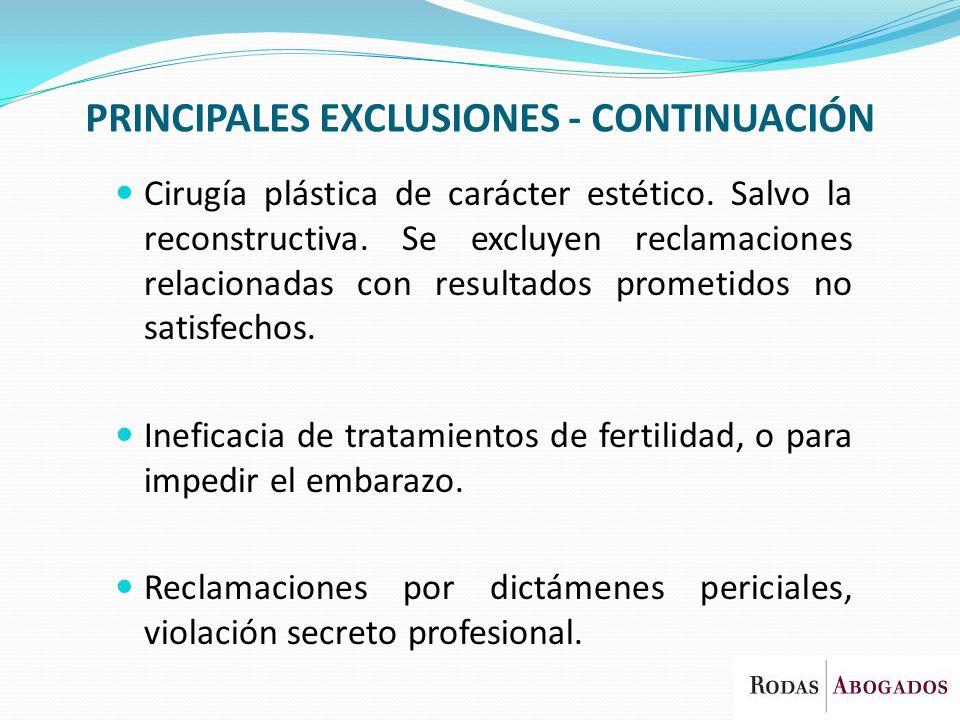 PRINCIPALES EXCLUSIONES - CONTINUACIÓN Cirugía plástica de carácter estético. Salvo la reconstructiva. Se excluyen reclamaciones relacionadas con resu