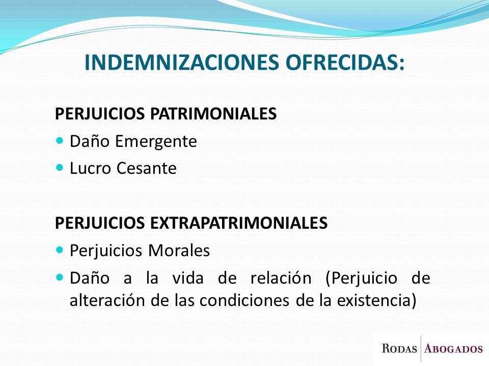 INDEMNIZACIONES OFRECIDAS: PERJUICIOS PATRIMONIALES Daño Emergente Lucro Cesante PERJUICIOS EXTRAPATRIMONIALES Perjuicios Morales Daño a la vida de re