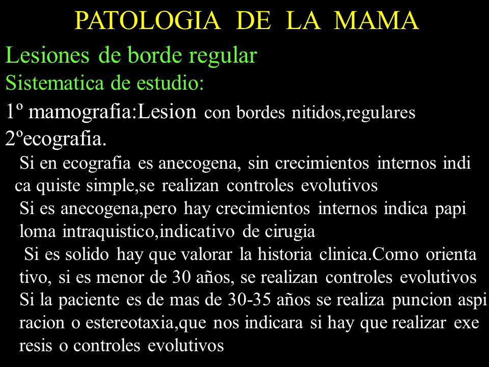 PATOLOGIA DE LA MAMA Lesiones de borde regular Sistematica de estudio: 1º mamografia:Lesion con bordes nitidos,regulares 2ºecografia. Si en ecografia