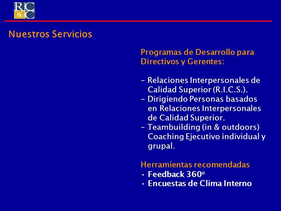 Programas de Desarrollo para Directivos y Gerentes: - Relaciones Interpersonales de Calidad Superior (R.I.C.S.). - Dirigiendo Personas basados en Rela