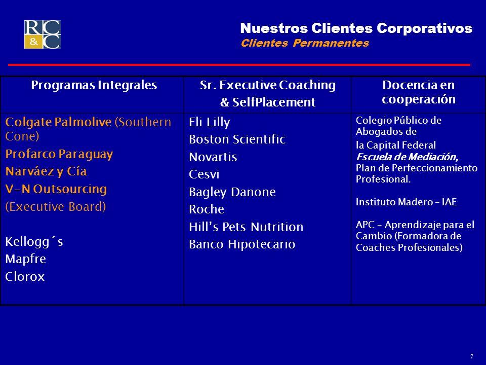 7 Nuestros Clientes Corporativos Clientes Permanentes Programas IntegralesSr. Executive Coaching & SelfPlacement Docencia en cooperación Colgate Palmo