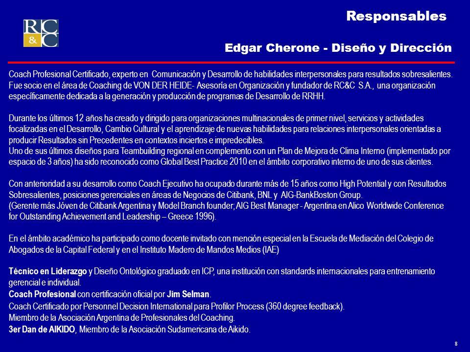 9 Responsables Es Licenciado en Psicología de la Universidad Nacional de Córdoba con formación en Psicología Sistémica, Logoterapia, PNL e Hipnosis Ericksoniana.