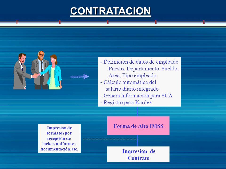 CONTRATACION - Definición de datos de empleado Puesto, Departamento, Sueldo, Area, Tipo empleado. - Cálculo automático del salario diario integrado -