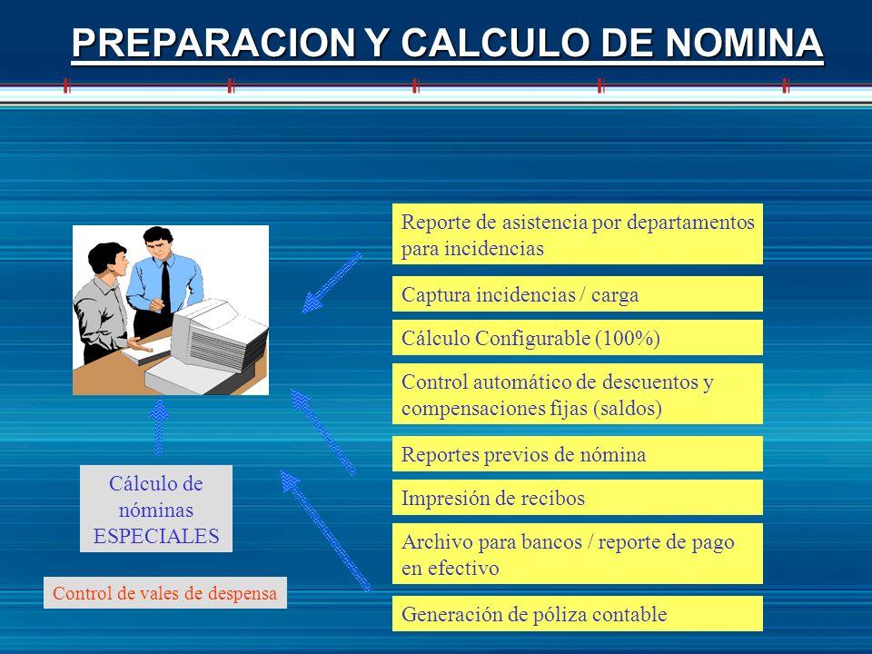 PREPARACION Y CALCULO DE NOMINA Captura incidencias / carga Cálculo Configurable (100%) Control automático de descuentos y compensaciones fijas (saldo