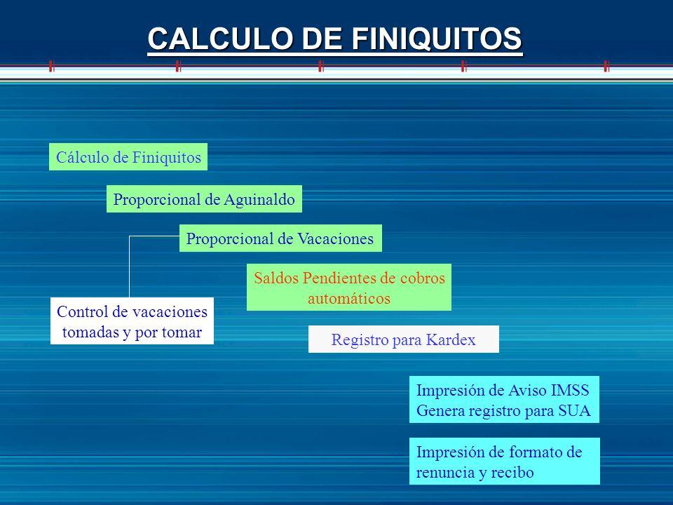 CALCULO DE FINIQUITOS Cálculo de Finiquitos Proporcional de Aguinaldo Proporcional de Vacaciones Saldos Pendientes de cobros automáticos Impresión de