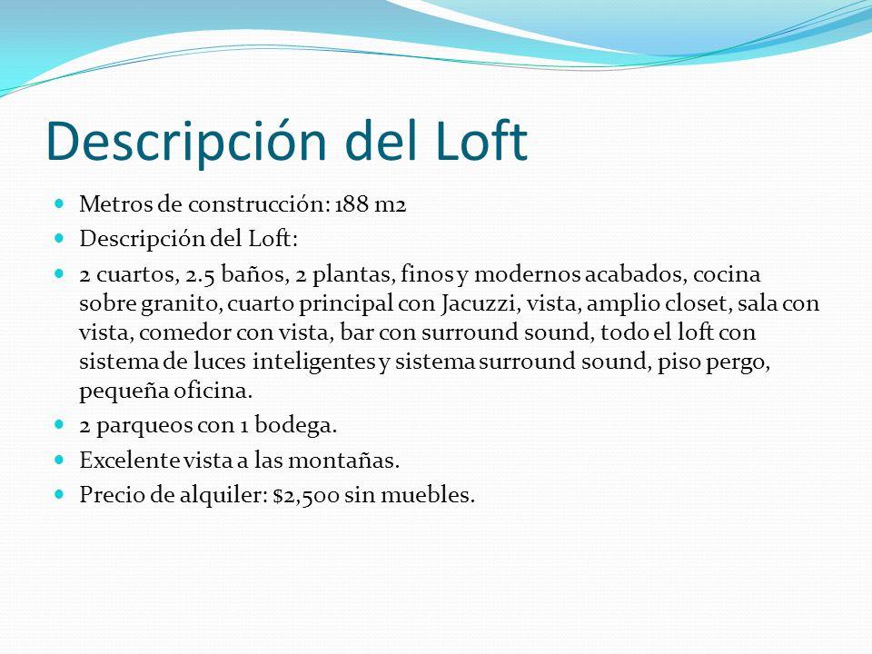 Descripción del Loft Metros de construcción: 188 m2 Descripción del Loft: 2 cuartos, 2.5 baños, 2 plantas, finos y modernos acabados, cocina sobre gra