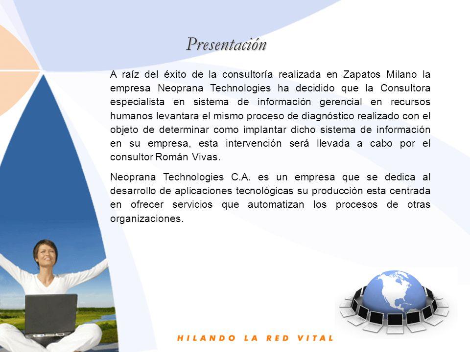 Presentación A raíz del éxito de la consultoría realizada en Zapatos Milano la empresa Neoprana Technologies ha decidido que la Consultora especialist