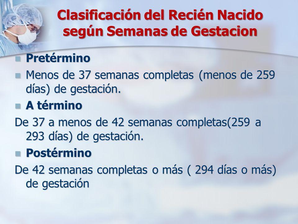 Clasificación del Recién Nacido según Semanas de Gestacion Pretérmino Pretérmino Menos de 37 semanas completas (menos de 259 días) de gestación. Menos