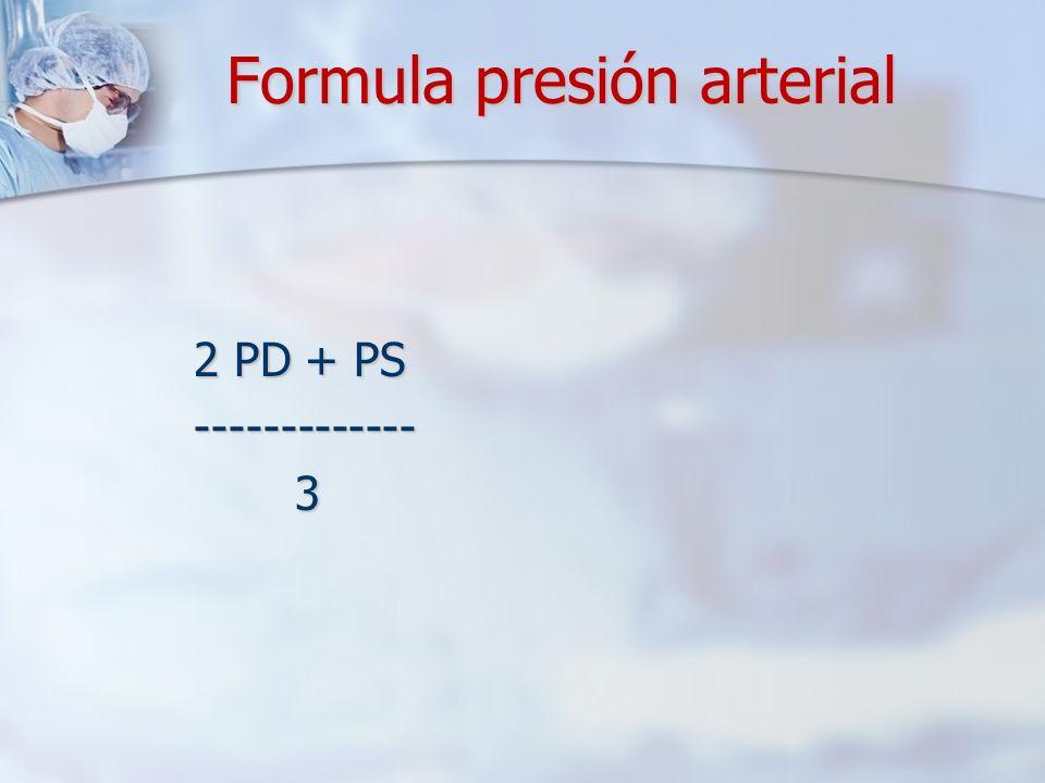 Formula presión arterial 2 PD + PS 2 PD + PS ------------- ------------- 3