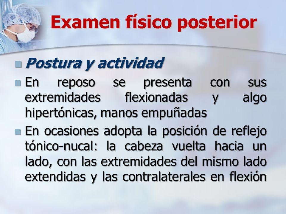 Examen físico posterior Postura y actividad Postura y actividad En reposo se presenta con sus extremidades flexionadas y algo hipertónicas, manos empu