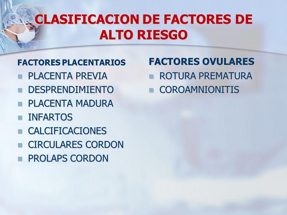 CLASIFICACION DE FACTORES DE ALTO RIESGO FACTORES PLACENTARIOS PLACENTA PREVIA DESPRENDIMIENTO PLACENTA MADURA INFARTOS CALCIFICACIONES CIRCULARES COR