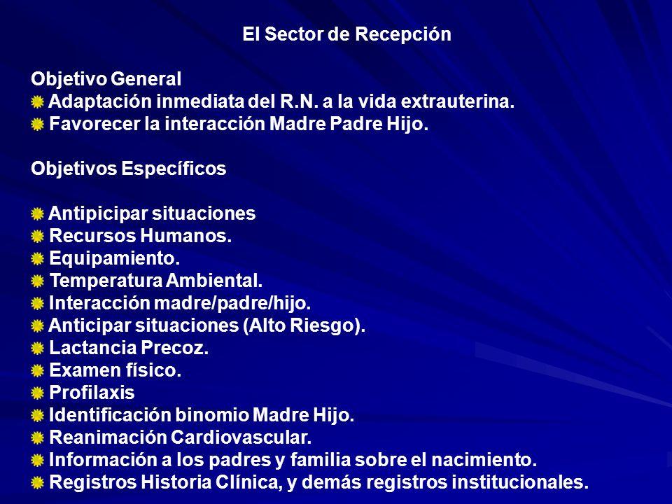 El Sector de Recepción Objetivo General Adaptación inmediata del R.N. a la vida extrauterina. Favorecer la interacción Madre Padre Hijo. Objetivos Esp