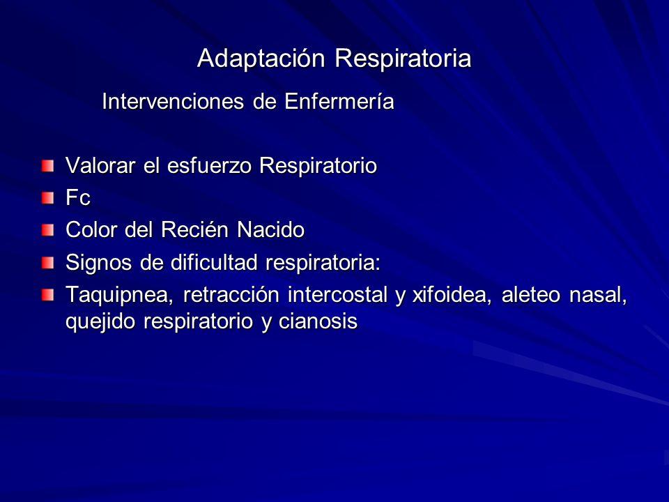 Adaptación Respiratoria Intervenciones de Enfermería Intervenciones de Enfermería Valorar el esfuerzo Respiratorio Fc Color del Recién Nacido Signos d