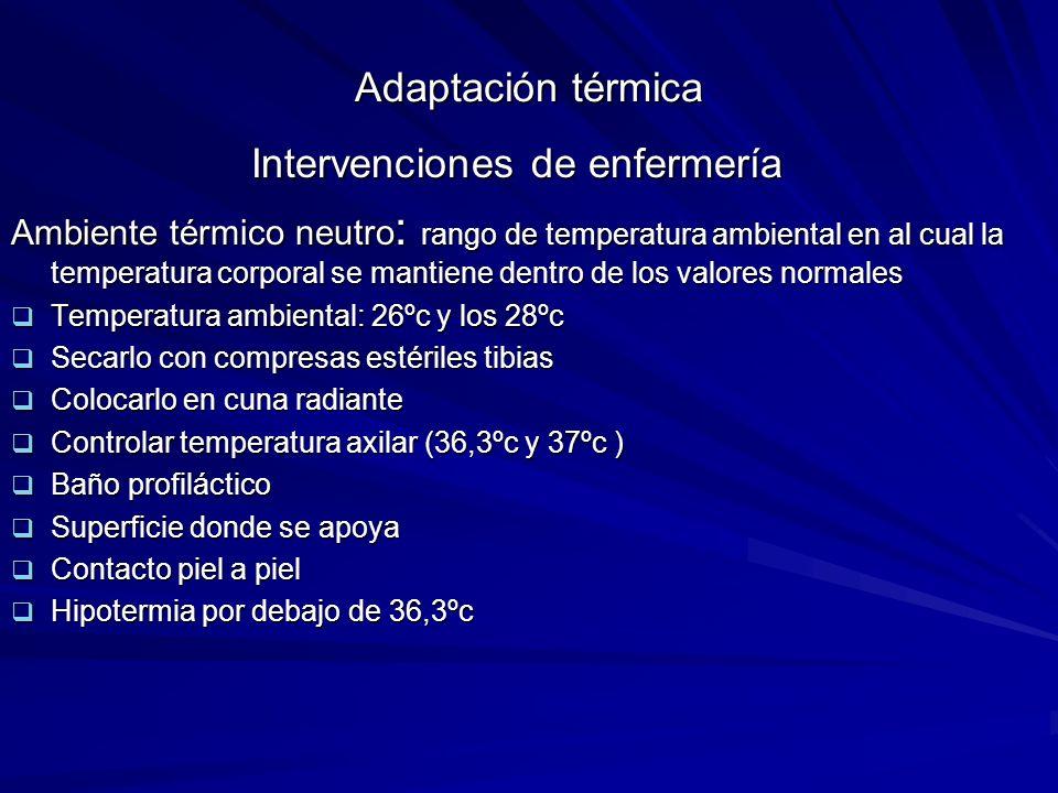 Adaptación térmica Intervenciones de enfermería Ambiente térmico neutro : rango de temperatura ambiental en al cual la temperatura corporal se mantien