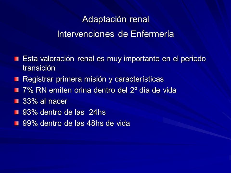 Adaptación renal Intervenciones de Enfermería Esta valoración renal es muy importante en el periodo transición Registrar primera misión y característi