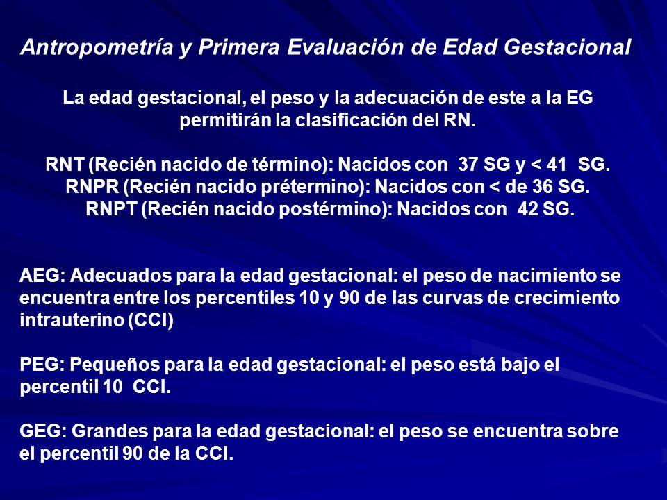 Antropometría y Primera Evaluación de Edad Gestacional La edad gestacional, el peso y la adecuación de este a la EG permitirán la clasificación del RN