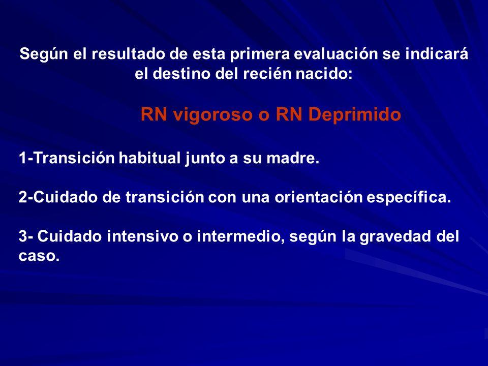 Según el resultado de esta primera evaluación se indicará el destino del recién nacido: RN vigoroso o RN Deprimido 1-Transición habitual junto a su ma