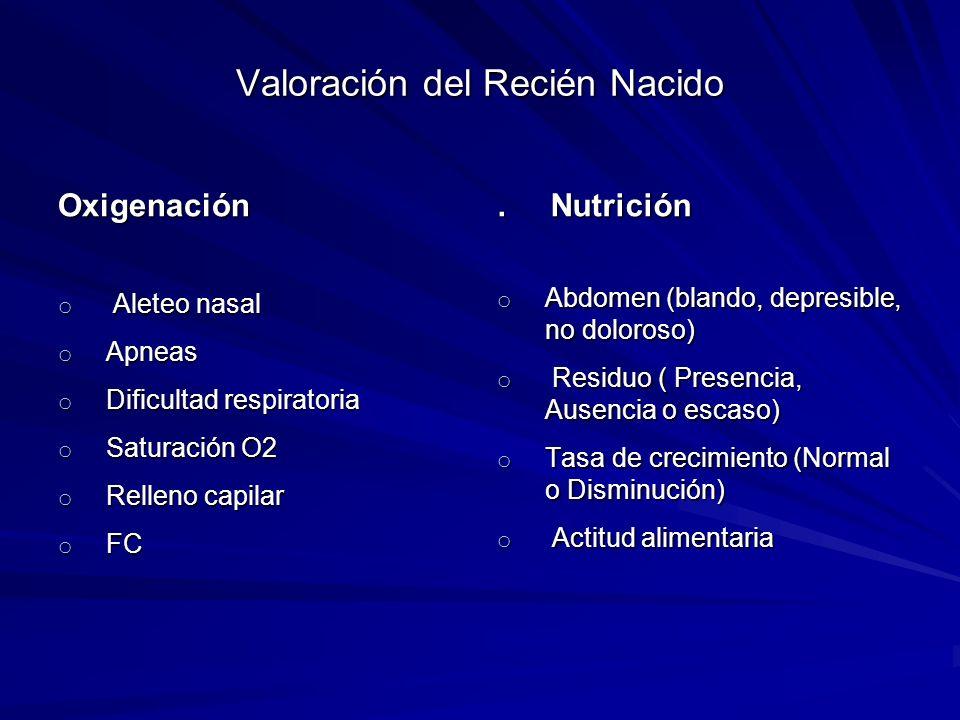 Valoración del Recién Nacido Oxigenación o Aleteo nasal o Apneas o Dificultad respiratoria o Saturación O2 o Relleno capilar o FC. Nutrición o Abdomen