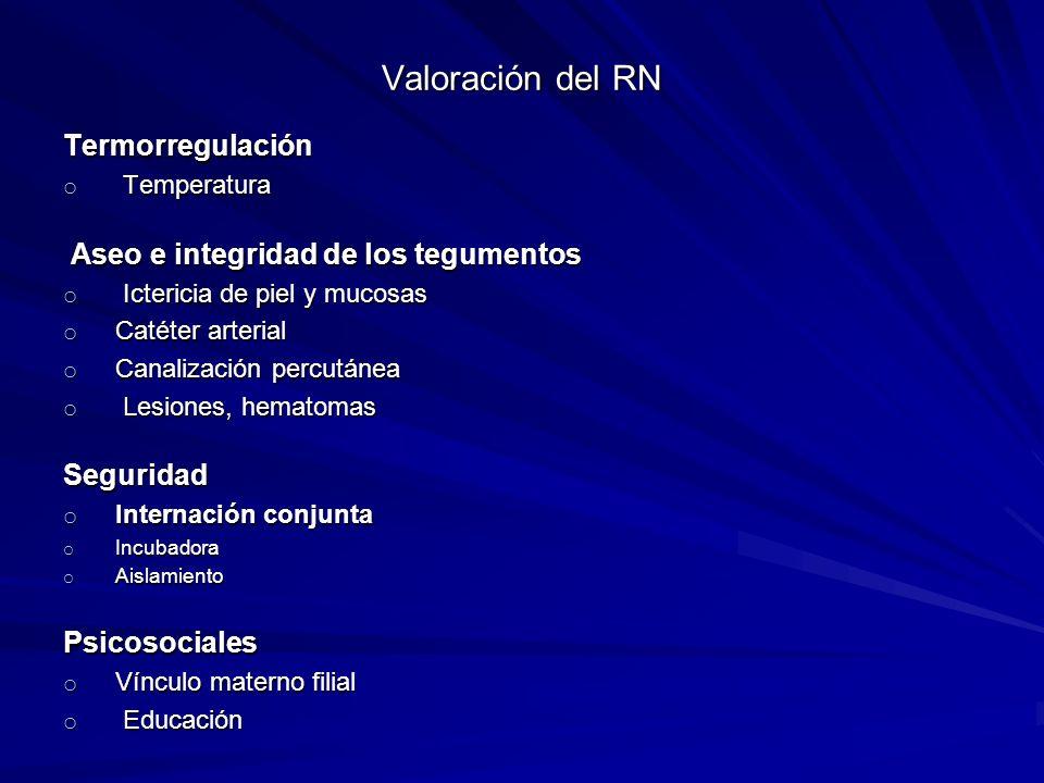 Valoración del RN Termorregulación o Temperatura Aseo e integridad de los tegumentos Aseo e integridad de los tegumentos o Ictericia de piel y mucosas