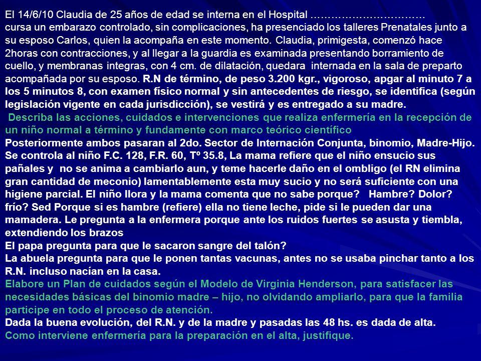 El 14/6/10 Claudia de 25 años de edad se interna en el Hospital …………………………… cursa un embarazo controlado, sin complicaciones, ha presenciado los talle