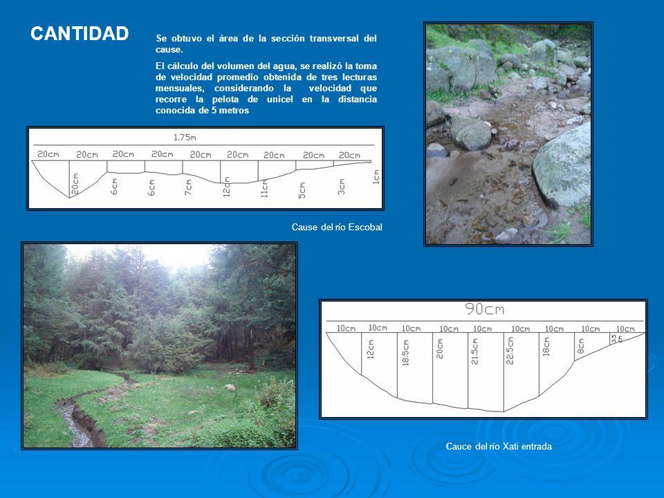 CANTIDAD Cause del río Escobal Cauce del río Xati entrada Se obtuvo el área de la sección transversal del cause. El cálculo del volumen del agua, se r