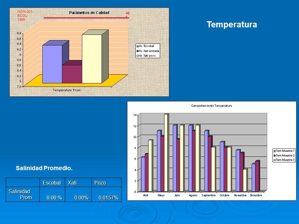 NOM-001- ECOL- 1996, 40 º Temperatura Salinidad Promedio.EscobalXatiPozo Salinidad Prom. 0.00 % 0.00%0,0157%