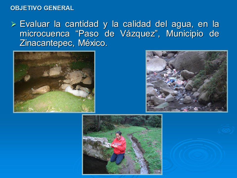 OBJETIVO GENERAL Evaluar la cantidad y la calidad del agua, en la microcuenca Paso de Vázquez, Municipio de Zinacantepec, México. Evaluar la cantidad