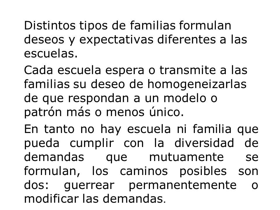 Distintos tipos de familias formulan deseos y expectativas diferentes a las escuelas. Cada escuela espera o transmite a las familias su deseo de homog