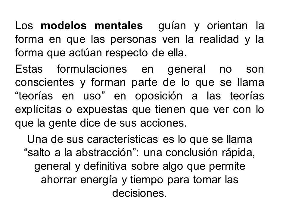 Los modelos mentales guían y orientan la forma en que las personas ven la realidad y la forma que actúan respecto de ella. Estas formulaciones en gene