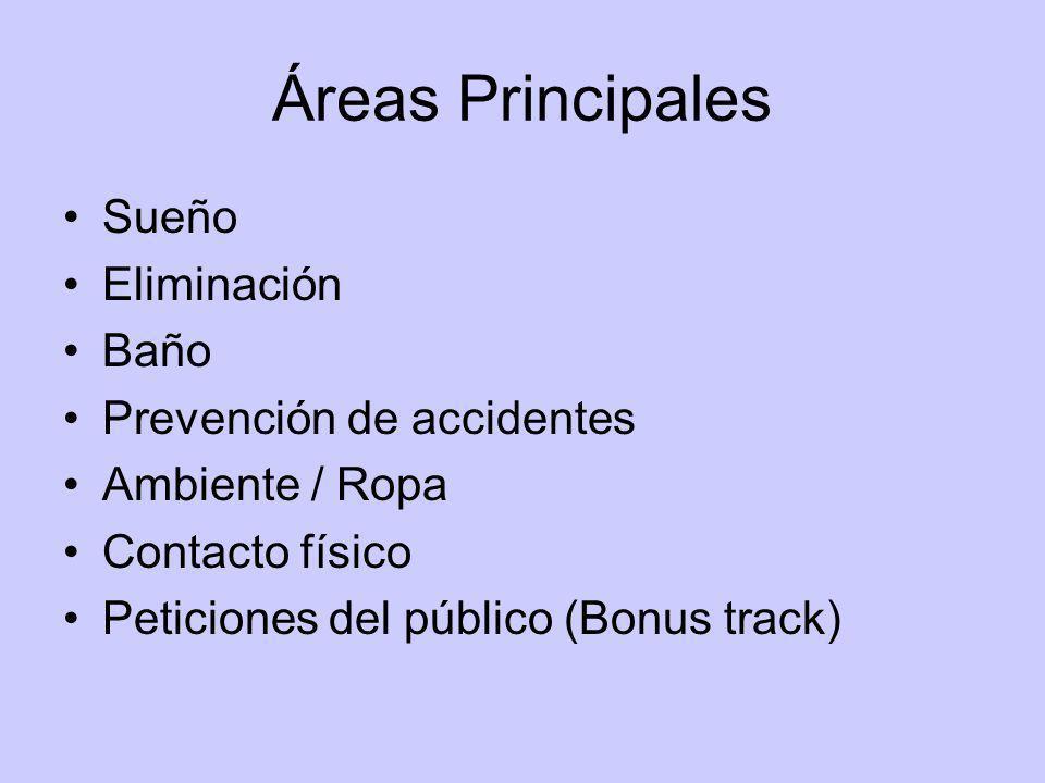 Áreas Principales Sueño Eliminación Baño Prevención de accidentes Ambiente / Ropa Contacto físico Peticiones del público (Bonus track)