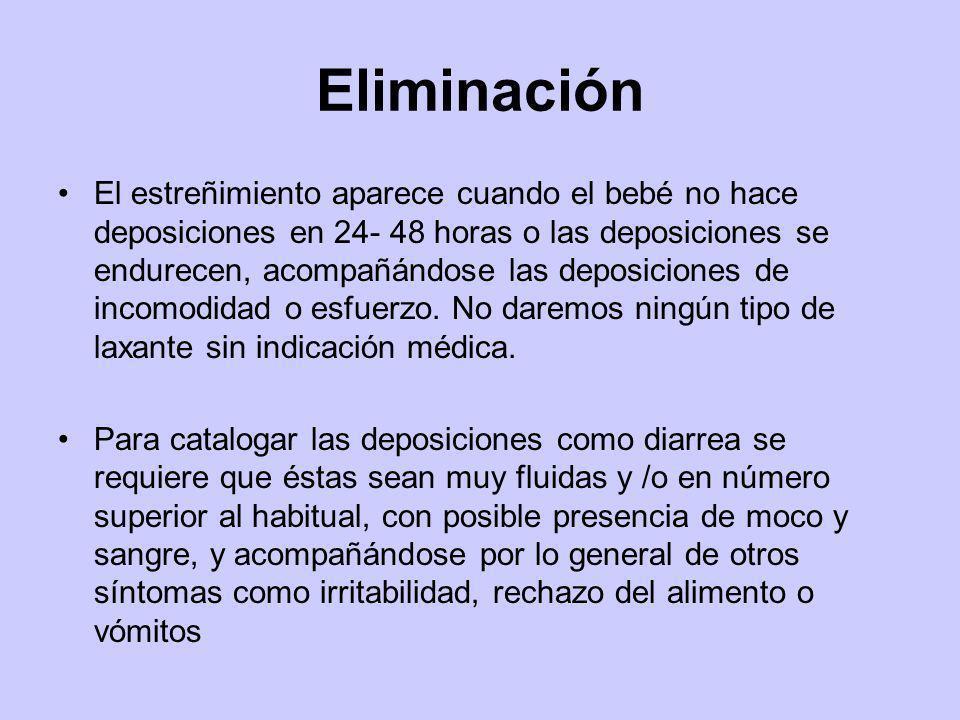 Eliminación El estreñimiento aparece cuando el bebé no hace deposiciones en 24- 48 horas o las deposiciones se endurecen, acompañándose las deposicion